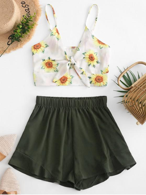shop Smocked Knotted Sunflower Top And Shorts Set - DARK FOREST GREEN XL