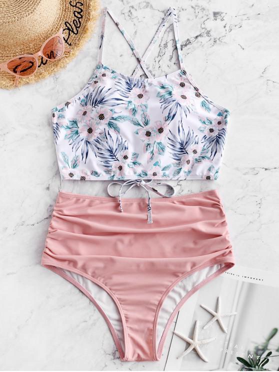 womens ZAFUL Flower Lace Up Tummy Control Tankini Swimwear - LIGHT PINK L