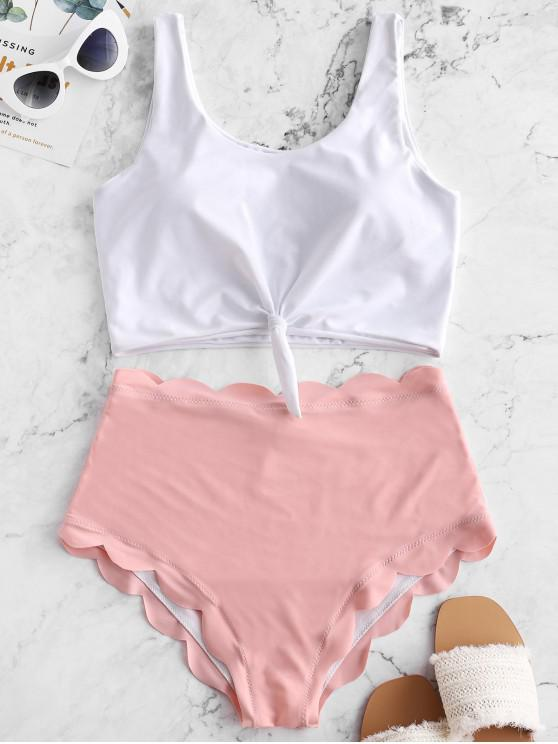 chic ZAFUL Knot Scalloped Mix and Match Tankini Swimsuit - ROSE M