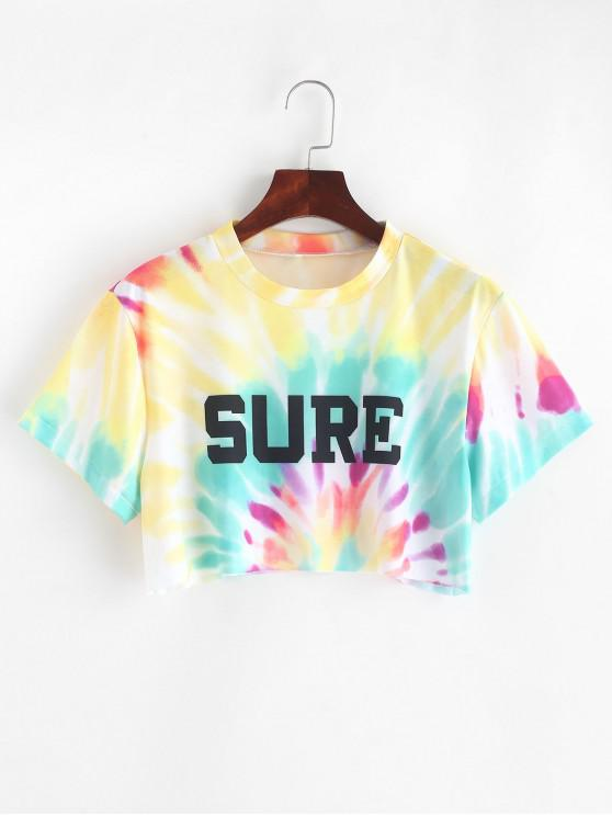chic Letter Graphic Tie Dye Crop Tee - MULTI S