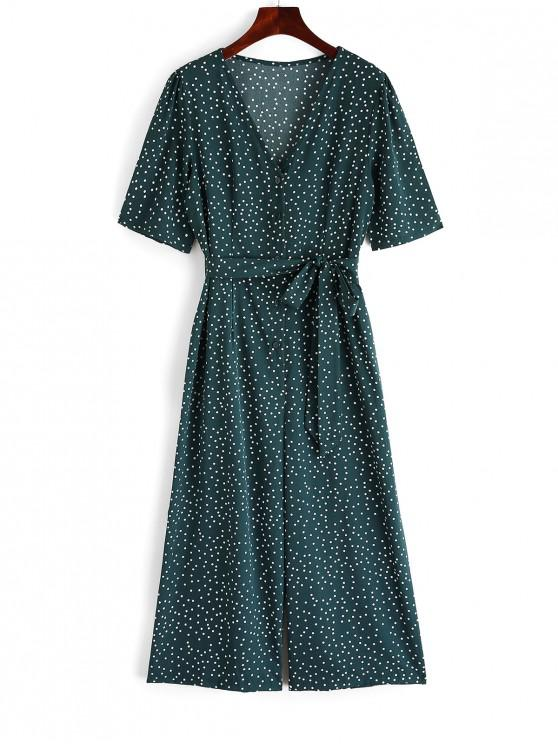 ladies Half Button Polka Dot Belted Wide Leg Jumpsuit - MEDIUM SEA GREEN L