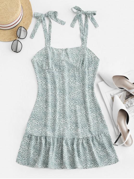 lady Ruffles Tiny Floral Tie Shoulder Dress - PALE BLUE LILY L