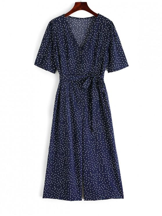 affordable Half Button Polka Dot Belted Wide Leg Jumpsuit - DARK SLATE BLUE XL