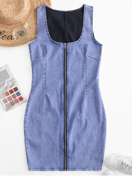 women Zip Front Sleeveless Bodycon Denim Dress - DENIM BLUE L
