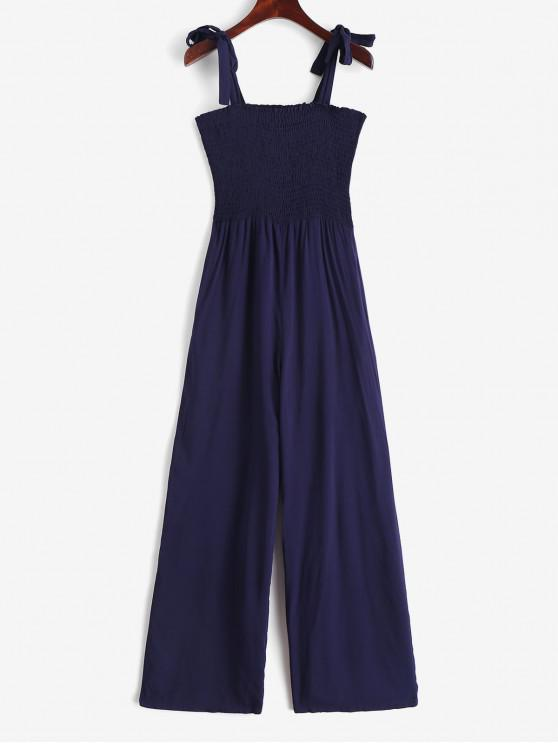 Combi-pantalon Plissé à Bretelle Nouée à Jambe Large - Bleu profond L