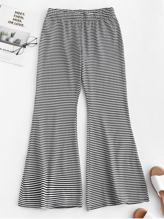 Pantaloni da spiaggia a vita bassa con motivo a campana a righe - Nero XL