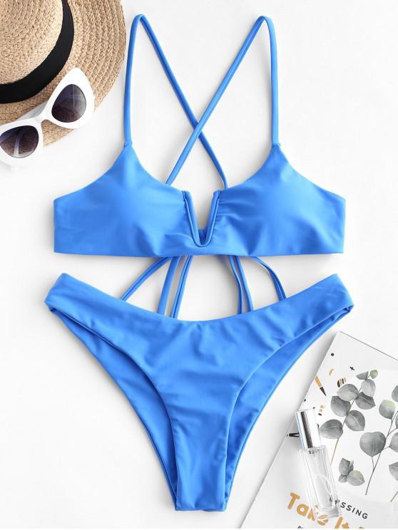 fancy ZAFUL V Wired Criss Cross Plain Bikini Swimwear - OCEAN BLUE S