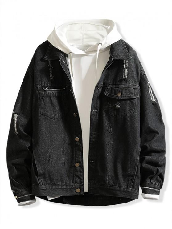 Scratch Patchworks empalmado chaqueta de mezclilla rasgada - Negro 3XL