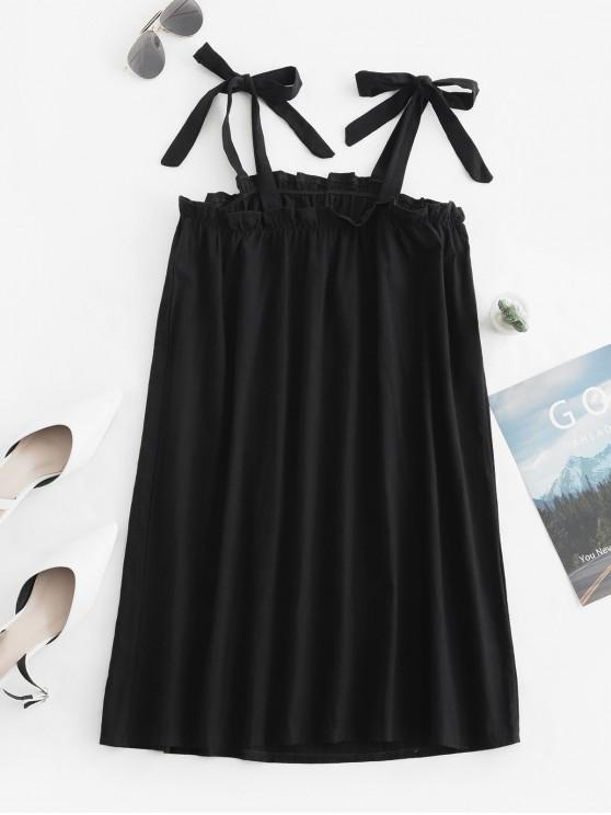 fashion Frilled Tie Shoulder Square Neck Mini Dress - BLACK L