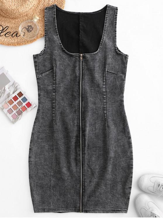women Zip Front Sleeveless Bodycon Denim Dress - GRAY S