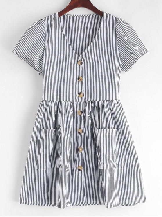 unique Striped Button Through Pocket Dress - BLACK S