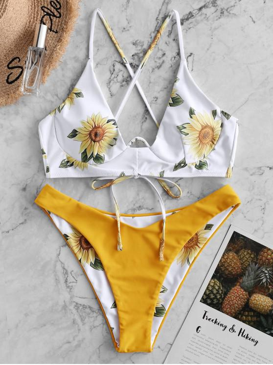 fancy ZAFUL Sunflower Crisscross Underwire Reversible Bikini Swimsuit - BRIGHT YELLOW S