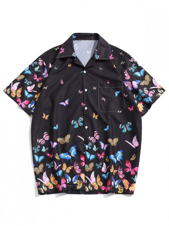 lady Allover Butterflies Print Casual Short Sleeves Shirt - BLACK M