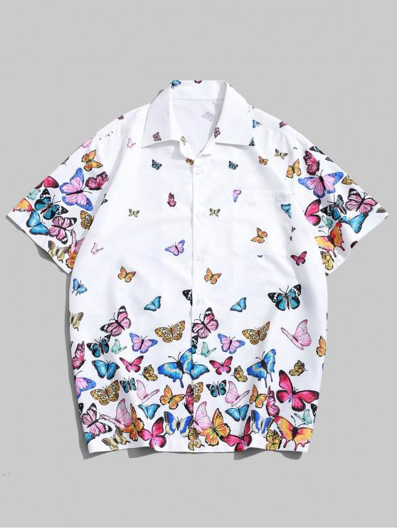 hot Allover Butterflies Print Casual Short Sleeves Shirt - WHITE M