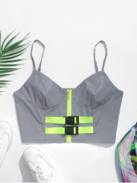 fancy Zip Front Buckled Reflective Cami Top - GRAY S