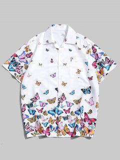 Camicia Maniche Corte All-over Con Stampa Farfalle - Bianca L