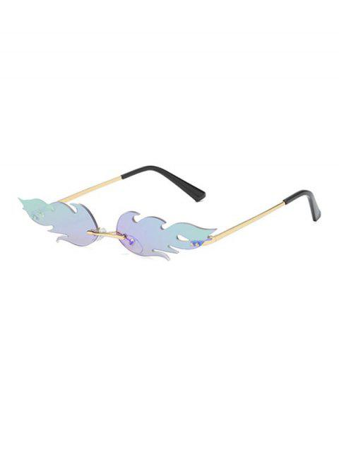 unique Fire Shape Rimless Metal Sunglasses - MACAW BLUE GREEN  Mobile