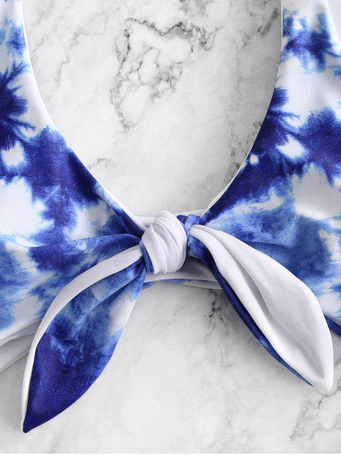 unique ZAFUL Tie Dye Knotted Monokini Swimsuit - BLUEBERRY BLUE XL Mobile