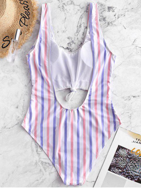 women ZAFUL Striped Knotted Open Back Monokini Swimsuit - MULTI-A S Mobile