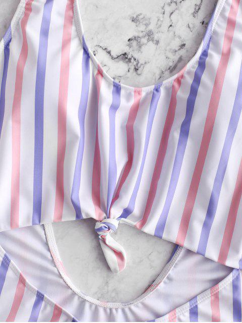 ZAFUL Полосатый принт С бантом Открытая спина Монокини Купальник - Многоцветный-A M Mobile