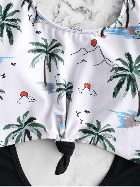 Bañador Monokini Anudado con Estampado de Coco ZAFUL - Multicolor-A S Mobile