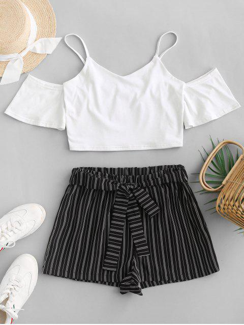 chic ZAFUL Crop Cami Top and Striped Belted Shorts Set - WHITE S Mobile
