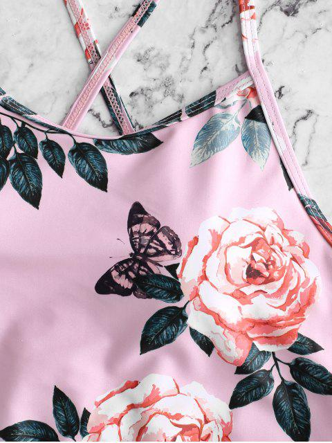 women's ZAFUL Flower Butterfly Print Lace Up Tummy Control Tankini Swimsuit - LIGHT PINK L Mobile