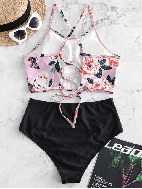 ZAFUL Traje de baño Tankini con estampado de mariposa con cordones y control de la barriga - Rosa Claro XL Mobile