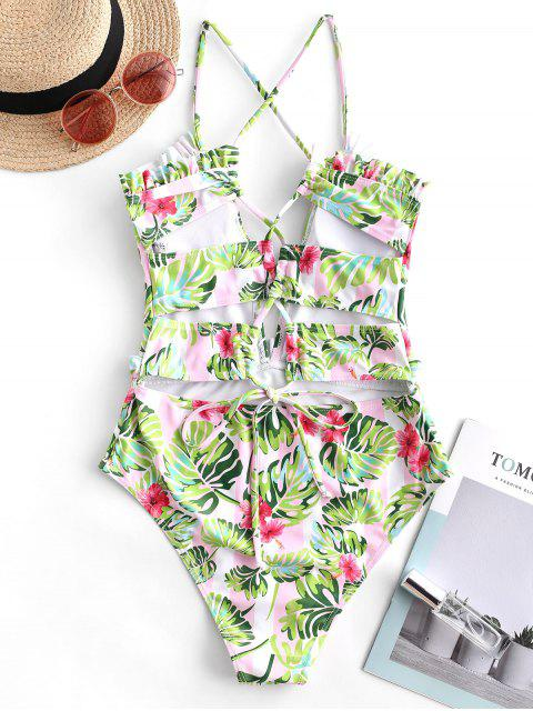 womens ZAFUL Striped Flower Palm Ruffle Lace Up One-piece Swimsuit - MULTI-A M Mobile