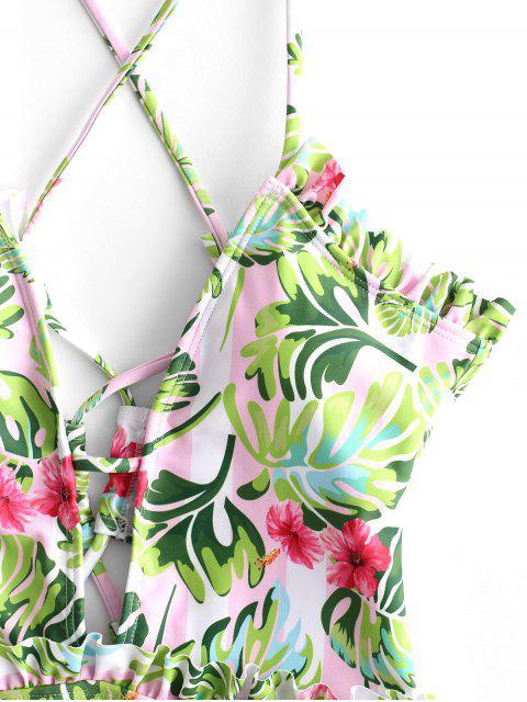 ZAFUL Maillot de Bain Rayé Fleur de Palmier à Lacets Une-Pièce - Multi-A L Mobile