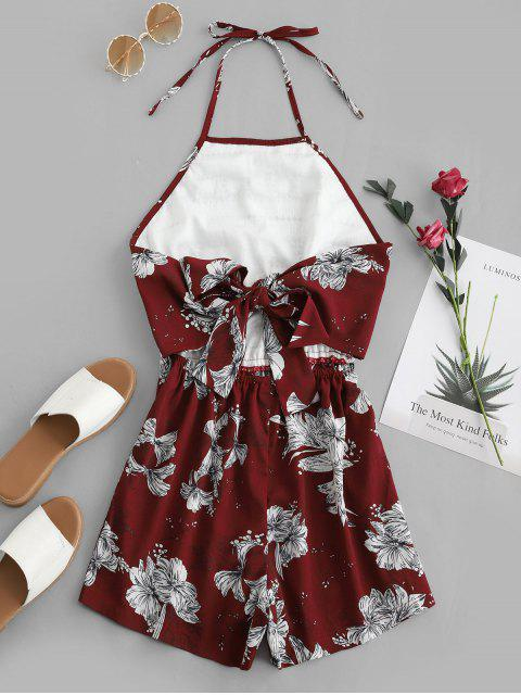hot ZAFUL Crochet Lace Tied Back Floral Halter Romper - RED WINE S Mobile