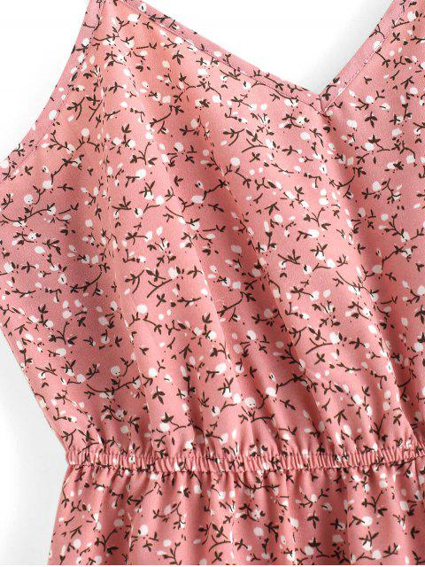 ZAFUL Barboteuse Fleurie Imprimé Jambe Large à Bretelle - Rose  XL Mobile