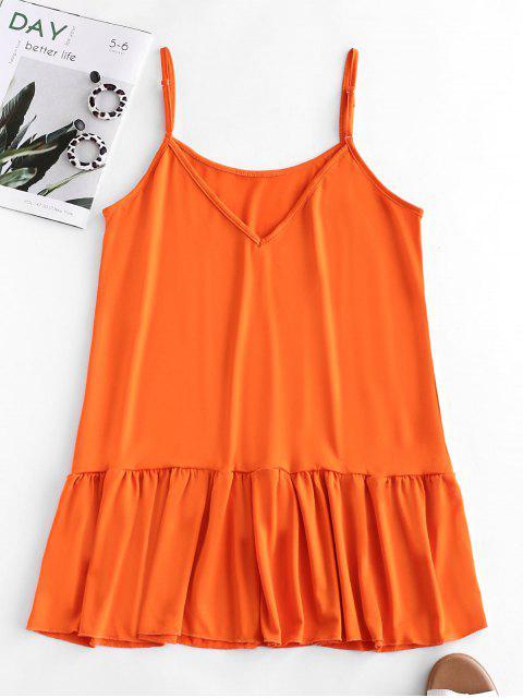 Mini Robe à Bretelle Ourlet à Volants - Orange Papaye S Mobile