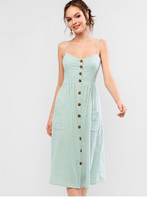 affordable Smocked Back Buttoned Pockets Cami Dress - PALE BLUE LILY S Mobile