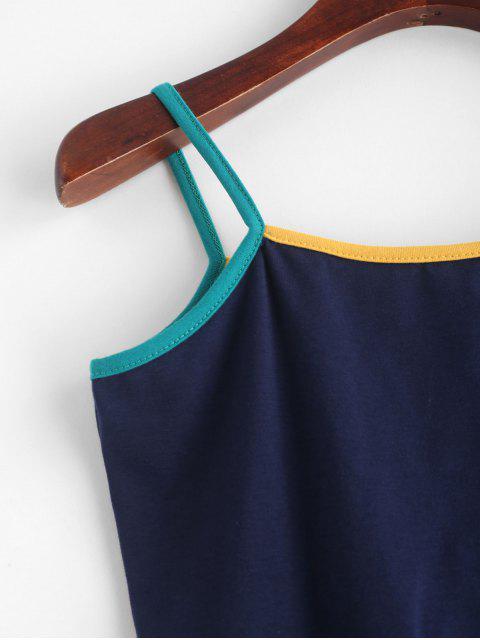 Haut Court à Bretelle à Ourlet Contrasté - Bleu de Minuit Taille Unique Mobile