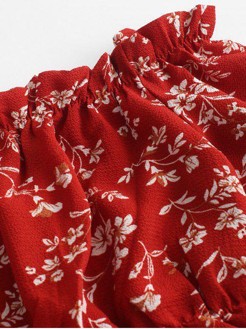 Costume deux pièces ample à fleurs et épaules dénudées - Rouge S Mobile