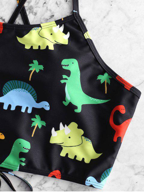 online ZAFUL Dinosaur Lace Up Tummy Control Tankini Swimsuit - BLACK XL Mobile