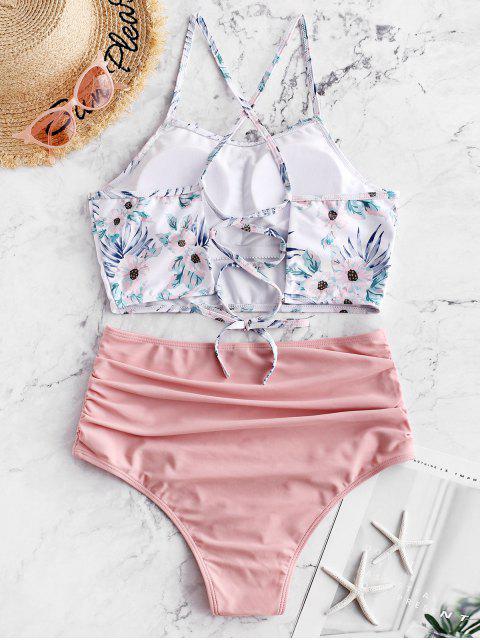 affordable ZAFUL Flower Lace Up Tummy Control Tankini Swimwear - LIGHT PINK S Mobile