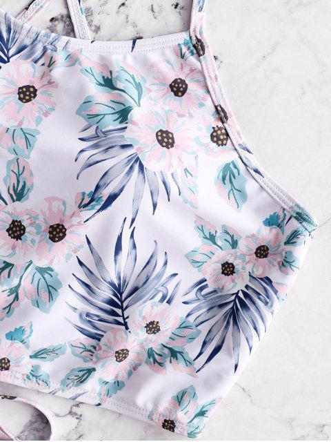 ZAFUL Flower Lace Up Tummy Control Traje de baño Tankini - Rosa Claro M Mobile