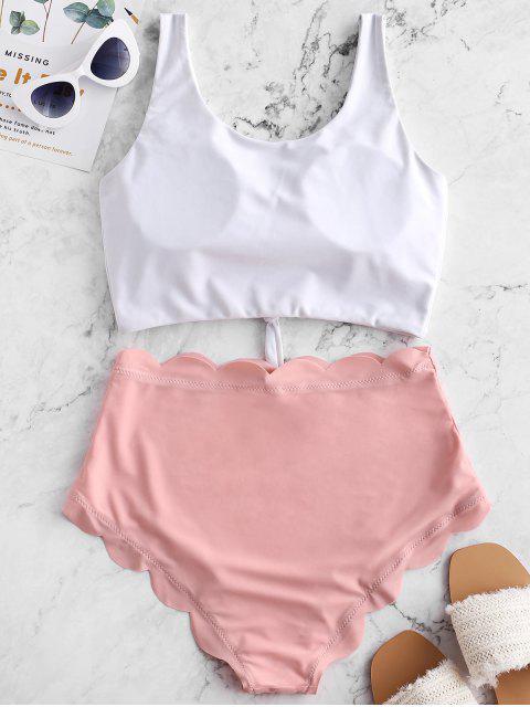 fancy ZAFUL Knot Scalloped Mix and Match Tankini Swimsuit - ROSE XL Mobile