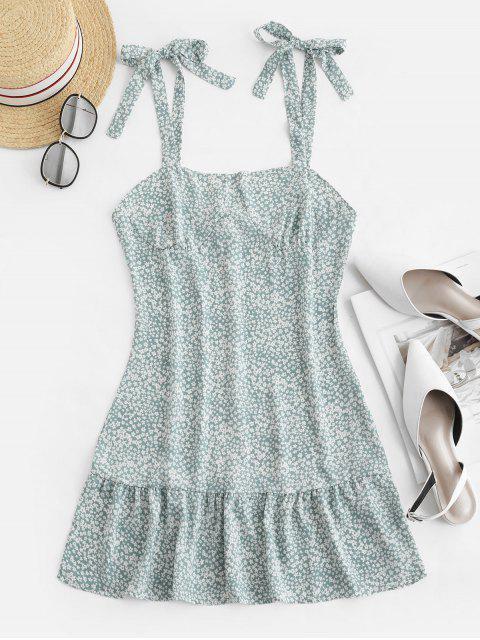 fashion Ruffles Tiny Floral Tie Shoulder Dress - PALE BLUE LILY S Mobile
