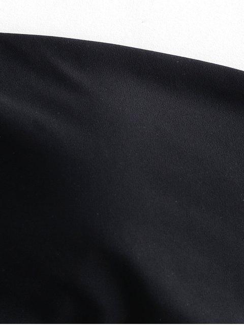 Bikini de un hombro con corte alto a lunares de ZAFUL - Negro L Mobile
