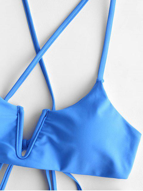 ZAFUL Maillot de Bain Bikini Simple Croisé à Armature en V - Bleu Océan L Mobile