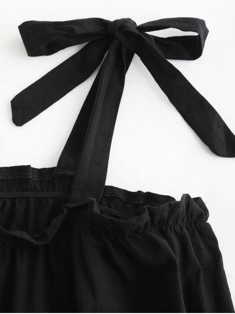 Mini Robe Fleurie à Epaule Nouée à Col Carré - Noir L Mobile