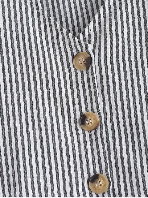shop Striped Button Through Pocket Dress - BLACK M Mobile