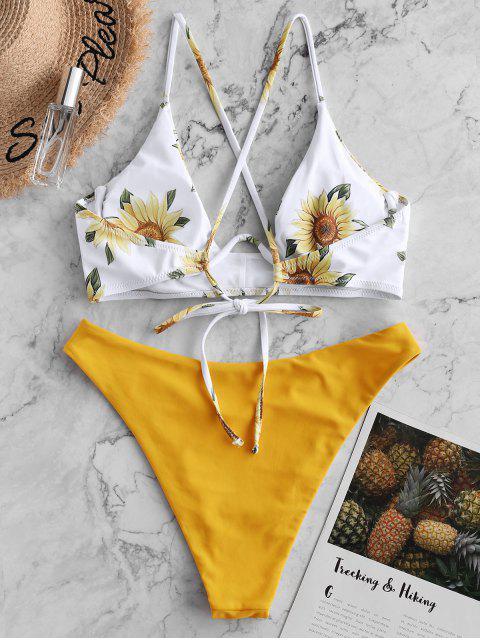 ZAFUL Maillot de Bain Bikini Réversible Croisé Tournesol à Armature - Jaune Clair S Mobile