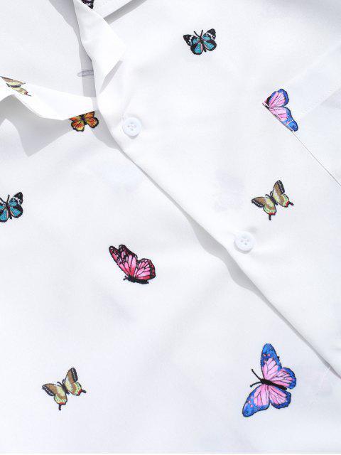 Allover Schmetterlingdeuck- Freizeithemd mit Kurzen Ärmeln - Weiß 2XL Mobile