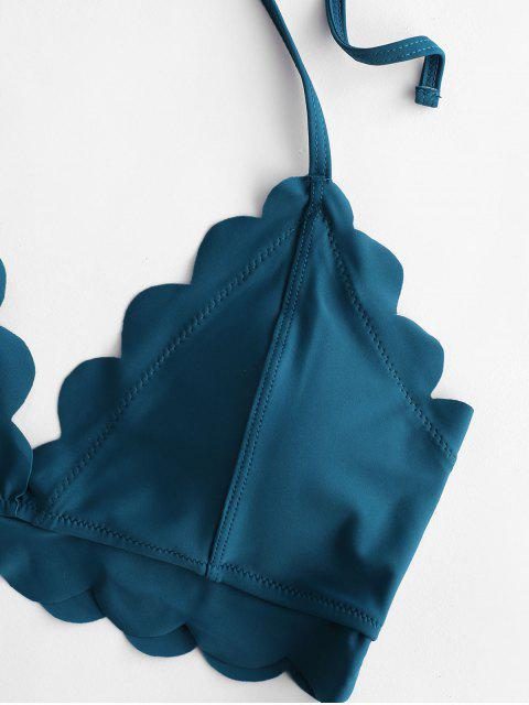 ZAFUL Maillot de Bain Bikini Festonné à Col Halter - Paon Bleu L Mobile