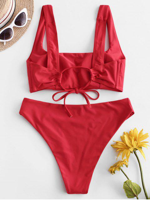 ZAFUL Maillot de Bain Bikini Carré Noué à Jambe Haute - Rouge Rubis S Mobile