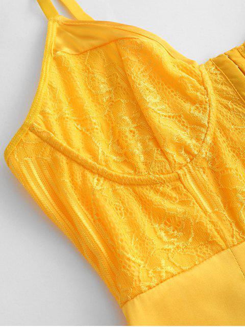 Robe Pyjama Soyeuse au Crochet en Avant en Dentelle Insérée - Jaune Canard Caoutchouc L Mobile